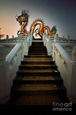 Stairway To The Dragon. Art Print by Phaitoon Chooti