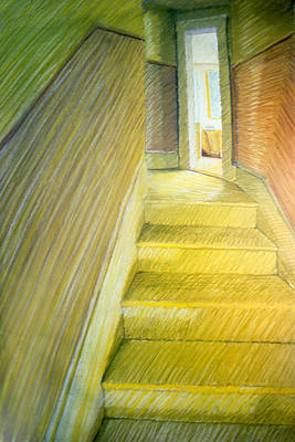 Drawing - Stairwell In Malden Apartment 1978 by Nancy Griswold