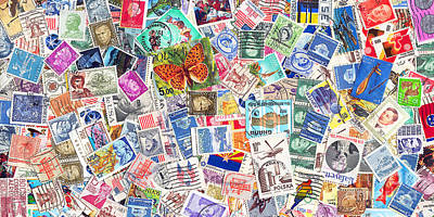 Postoffices Photograph - Stamp Collection . 2 To 1 Proportion by Wingsdomain Art and Photography