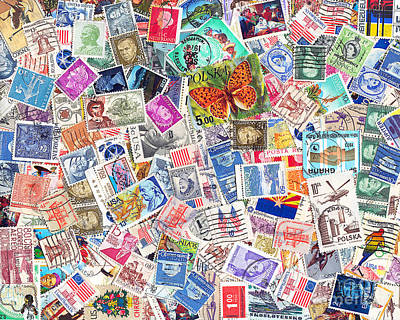 Postoffices Photograph - Stamp Collection . 8 To 10 Proportion by Wingsdomain Art and Photography