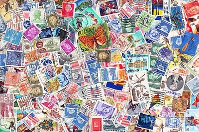 Postoffices Photograph - Stamp Collection . 8 To 12 Proportion by Wingsdomain Art and Photography