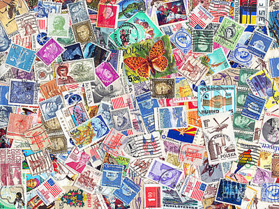 Postoffices Photograph - Stamp Collection . 9 To 12 Proportion by Wingsdomain Art and Photography