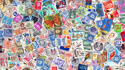 Postoffice Photograph - Stamp Collection . 9 To 16 Proportion by Wingsdomain Art and Photography