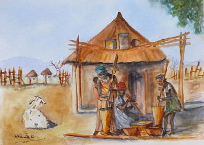 Painting - Stamping Maize by Harold Kimmel