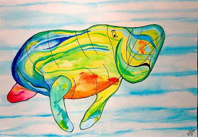 Painting - Stan The Manatee by Erika Swartzkopf