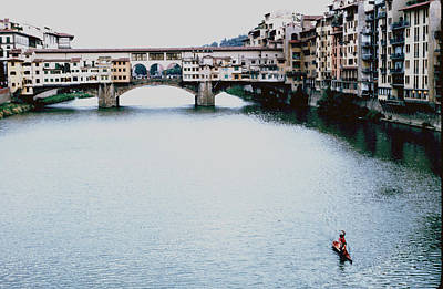 Stand Up Paddler Arno River Florence Art Print