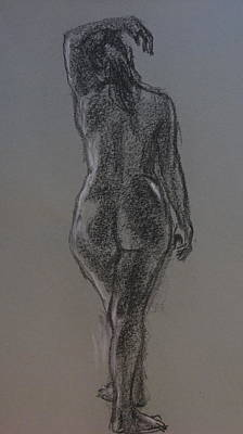 Drawing - Standing Rear View Nude by Sid Solomon