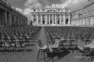 City Scenes - Standing Room Only at the Vatican BW by Mike Nellums