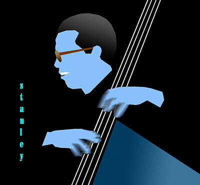 Jazz Fusion Digital Art - Stanley Clarke Blue by Victor Bailey