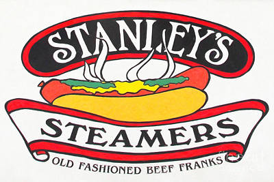 Stanleys Steamers Photograph - Stanley's Steamers Hot Dog Sign - 5d17929 - Painterly by Wingsdomain Art and Photography