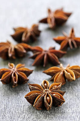 Food And Beverage Royalty-Free and Rights-Managed Images - Star anise fruit and seeds by Elena Elisseeva