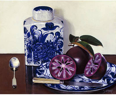 Jamaican Painting - Star Apples And Ginger Jar by Samere Tansley
