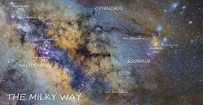 Star Map Version The Milky Way And Constellations Scorpius Sagittarius And The Star Antares Art Print by Guido Montanes Castillo