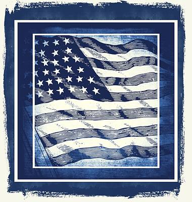 Star Spangled Banner Blue Art Print by Angelina Vick