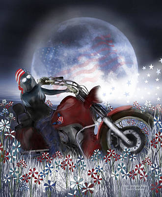 Mixed Media - Star Spangled Biker by Carol Cavalaris