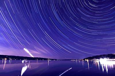 Star Trail On Cayuga Lake Ithaca New York Print by Paul Ge
