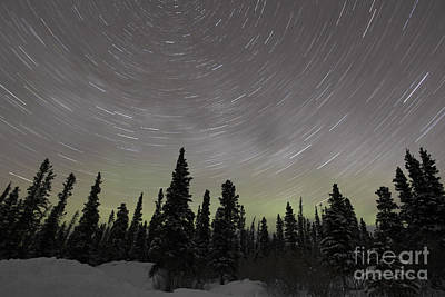 Star Trails, Milky Way And Green Aurora Art Print by Yuichi Takasaka