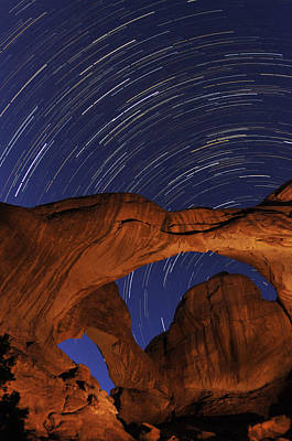 Star Trails Over Double Arch Art Print by Craig Ratcliffe
