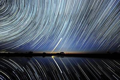 Moonlit Night Photograph - Star Trails Over Lake Tyrrell, Australia by Alex Cherney, Terrastro.com
