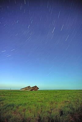 1 Object Photograph - Star Trails Over Old Barns, Saskatchewan by Robert Postma