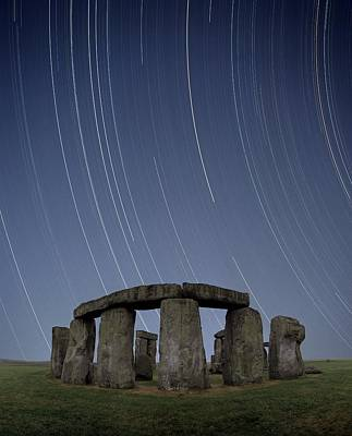 Megalith Photograph - Star Trails Over Stonehenge by David Parker