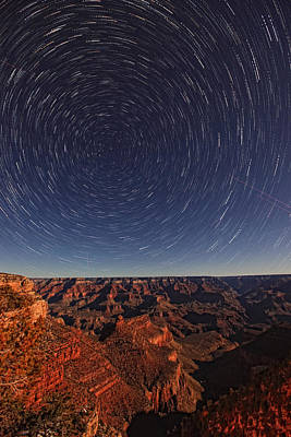 Without People Photograph - Star Trails Over The Grand Canyon by Robert Postma