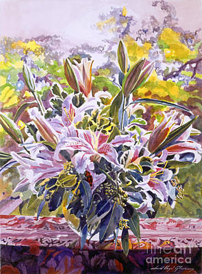 Painting - Stargazer Lilies In Glass Bowl by David Lloyd Glover