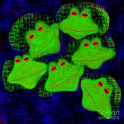 Digital Art - Stargazing Frogs by Barbara Moignard