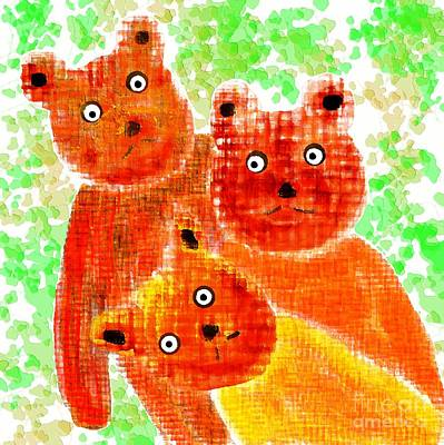 Digital Art - Stargazing Teddy Bears by Barbara Moignard