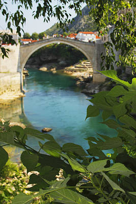 Mostar Photograph - Stari Most Or Old Town Bridge Over The by Trish Punch