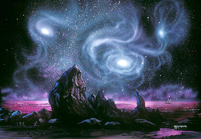 Starry Skies On Unknown Shores Art Print