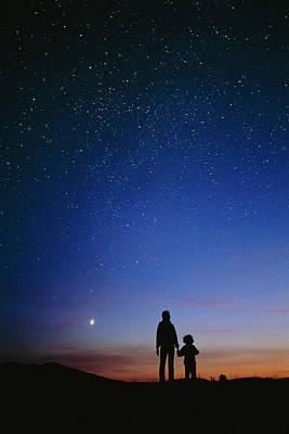 Starry Sky And Stargazers Art Print by David Nunuk