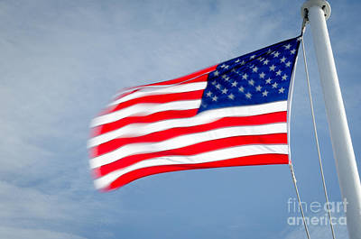 Stars And Stripes Flagpole And Waving Usa Flag Art Print