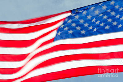 Stars And Stripes Waving Usa Flag In A Strong Wind Art Print