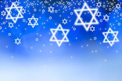 Hanukkah Photograph - Stars Of David Against Blue Background, Studio Shot by Tetra Images