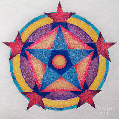 Visionary Drawing - Stars Of The Pentagon Mandala by Brian  Commerford