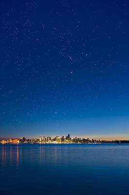Stars Over Vancouver, Canada Art Print by David Nunuk