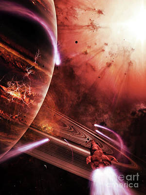 Destruction Digital Art - Starships Hone Their Skills by Brian Christensen