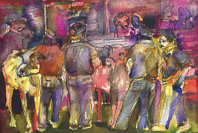 Magenta Drawing - State Fair Cattle Show by Mindy Newman