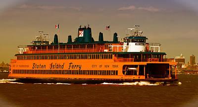 Art Print featuring the photograph Staten Island Ferry by Nancy De Flon