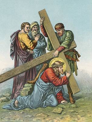 Truth Painting - Station Vii Jesus Falls Under The Cross The Second Time by English School