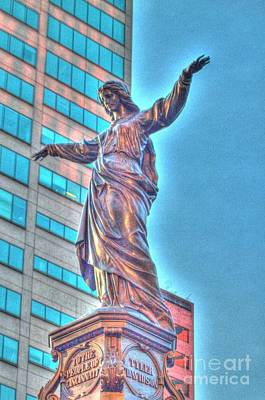 Photograph - Statue At Fountain Square by Jeremy Lankford