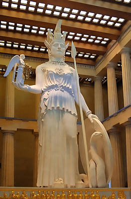Statue Of Athena And Nike Art Print by Linda Phelps