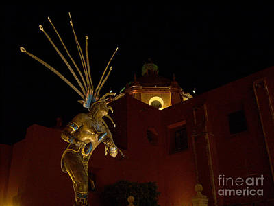 Photograph - Statue Of Aztec Dancer In Front Of Templo De San Francisco by Heather Kirk