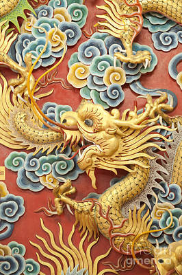 Statue Of Golden Dragon On The Wall  Original by Anek Suwannaphoom