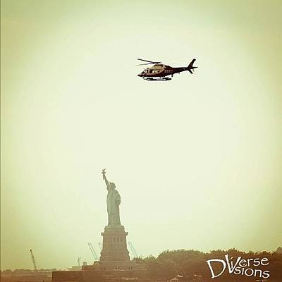 Helicopter Photograph - Statue Of Liberty by Harington