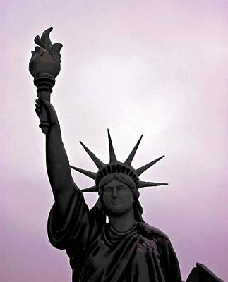 Goddess Of Liberty Photograph - Statue Of Liberty Purple Sunset by LeeAnn McLaneGoetz McLaneGoetzStudioLLCcom