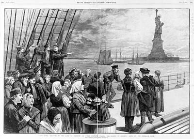 Statue Of Liberty. Welcome To The Land Art Print by Everett