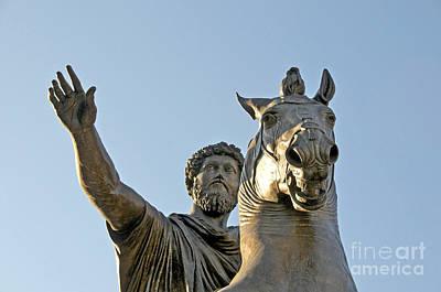Rome Photograph - Statue Of Marcus Aurelius On Capitoline Hill Rome Lazio Italy by Bernard Jaubert