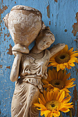 Chip Photograph - Statue Of Woman With Sunflowers by Garry Gay